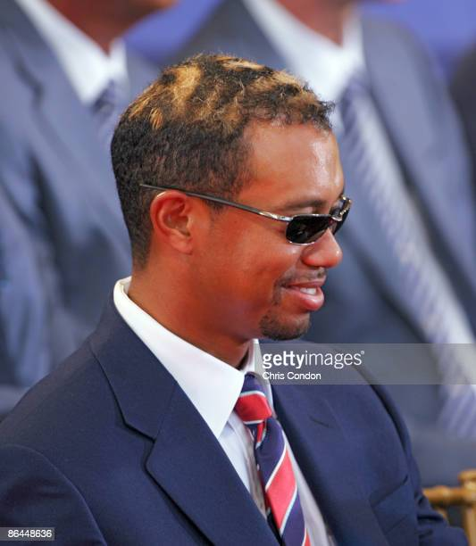 Tiger Woods of the US Team during the opening ceremony of The Presidents Cup at Robert Trent Jones Golf Club in Prince William County Virginia on...