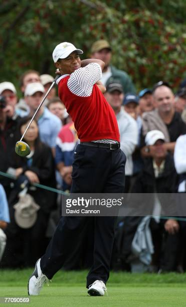 Tiger Woods of the U.S. Team plays his second shot with a driver off the fairway on the 6th hole during the round 2 fourball matches at the...