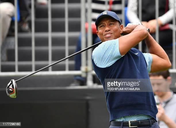 Tiger Woods of the US tees off at the first hole at a Japan Skins prematch ahead of the ZOZO Championship golf tournament at the Narashino Country...