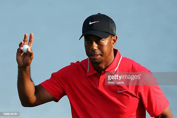 Tiger Woods of the USA acknowledges the gallery after finishing on the 18th green during the final round of THE PLAYERS Championship at THE PLAYERS...