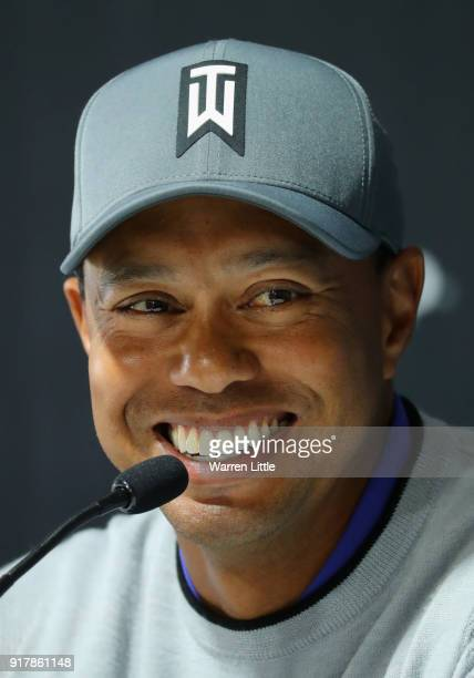 Tiger Woods of the USA addresses a press conference ahead of the Genesis Open at the Riviera Country Club on February 13 2018 in Pacific Palisades...