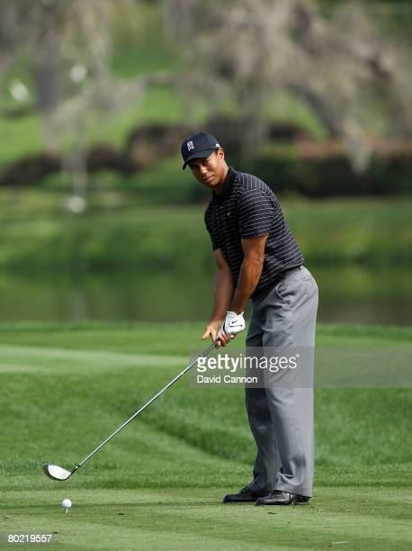 Tiger Woods of the USA addresses his ball before he hits his tee shot to the 16th hole during the pro-am for the 2008 Arnold Palmer Invitational...