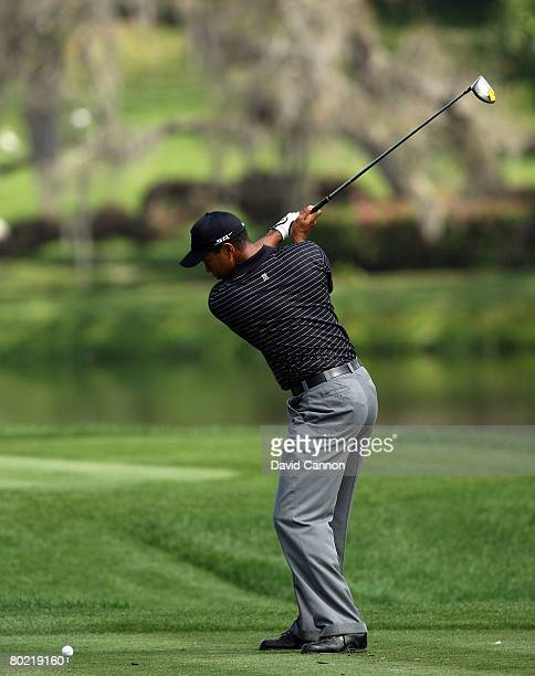 Tiger Woods of the USA almost to the top of his swing as he hits his tee shot to the 16th hole during the pro-am for the 2008 Arnold Palmer...