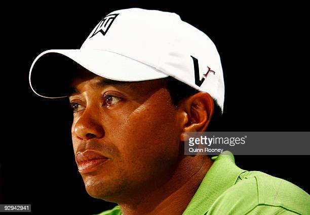 Tiger Woods of the USA answers questions from the media at a press conference ahead of the 2009 Australian Masters at Kingston Heath Golf Club on...