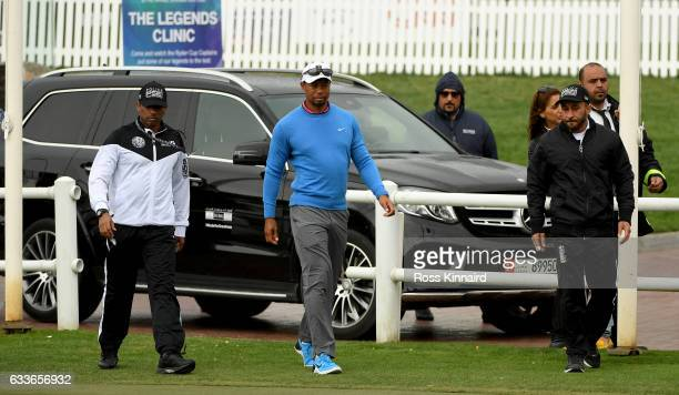 Tiger Woods of the USA arrives at the Emirates Golf for a short visit during the second round of the Omega Dubai Desert Classic at Emirates Golf Club...