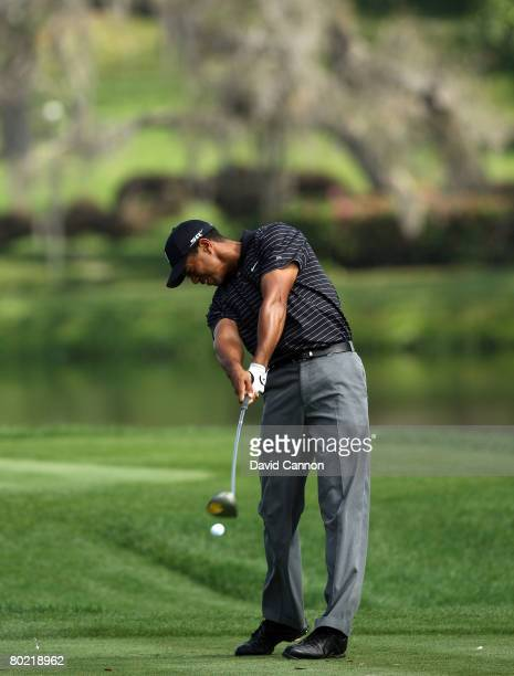Tiger Woods of the USA at impact as he hits his tee shot to the 16th hole during the pro-am for the 2008 Arnold Palmer Invitational presented by...
