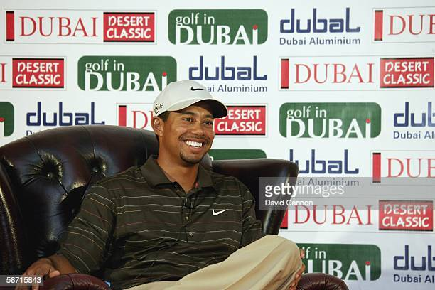Tiger Woods of the USA attends a Press Conference after the ProAm for the 2006 Dubai Desert Classic on the Majilis Course at the Emirates Golf Club...