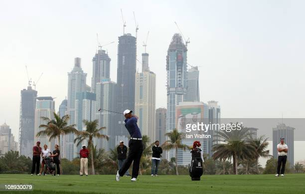 Tiger Woods of the USA competes during the proam for the 2011 Omega Dubai desert Classic held on the Majilis Course at the Emirates Golf Club on...