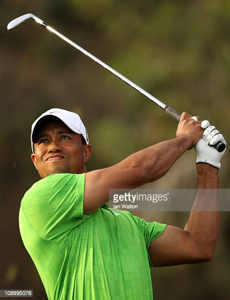 Tiger Woods of the USA competes during the second round for the 2011 Omega Dubai desert Classic held on the Majilis Course at the Emirates Golf Club...