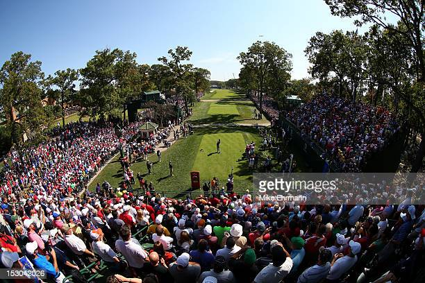 Tiger Woods of the USA his tee shot on the first hole during day two of the Afternoon FourBall Matches for The 39th Ryder Cup at Medinah Country Club...