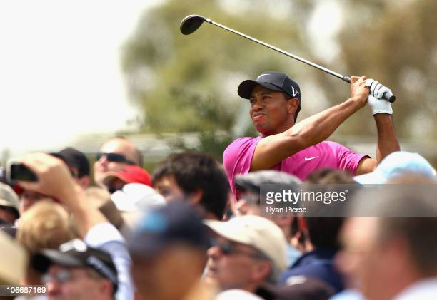 Tiger Woods of the USA hits a tee shot during day one of the Australian Masters at The Victoria Golf Club on November 11, 2010 in Melbourne,...