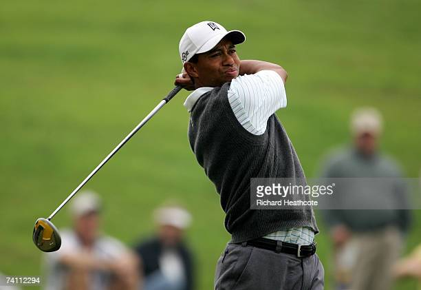 Tiger Woods of the USA hits a tee shot during the practice round for THE PLAYERS Championship on The Stadium Course at the TPC Sawgrass on May 9 2007...