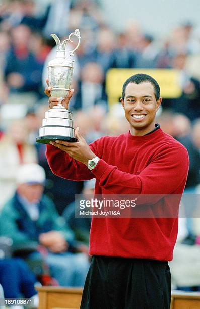 Tiger Woods of the USA holding the Claret Jug after his victory in the 2000 Open Championship held on the Old Course at St Andrews on July 23, 2000...