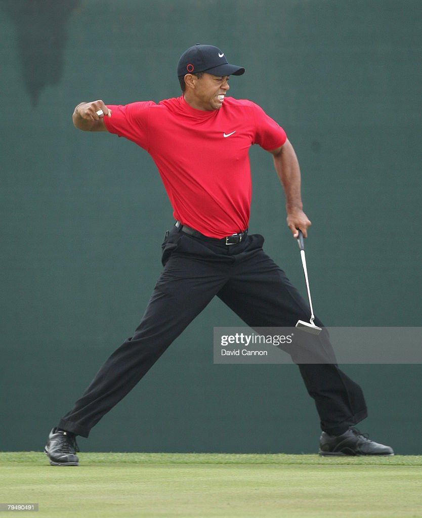 Tiger Woods of the USA holes a birdie putt at the 18th hole during the final round to win the Dubai Desert Classic, on the Majilis Course at the Emirates Golf Club, on February 3, 2008 in Dubai, United Arab Emirates.