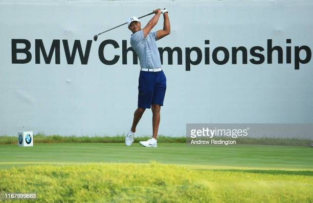 Tiger Woods of the USA in action during practice for the BMW Championship at Medinah Country Club on August 13, 2019 in Medinah, Illinois.