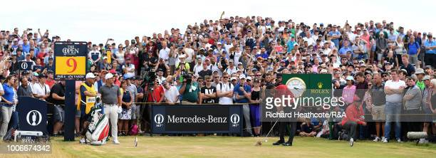 Tiger Woods of the USA in action during the final round of the Open Championship at Carnoustie Golf Club on July 22 2018 in Carnoustie Scotland