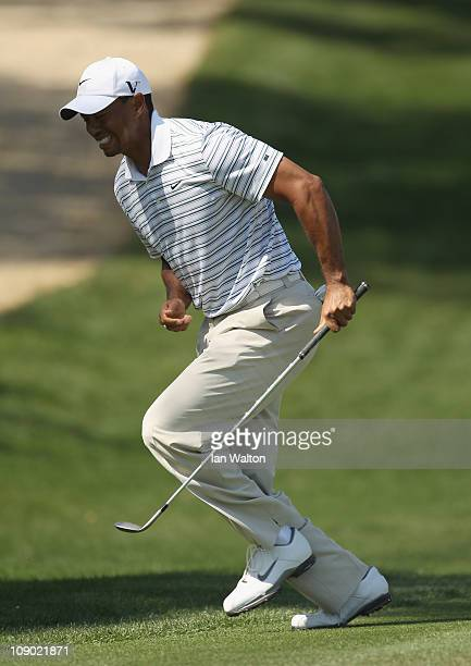 Tiger Woods of the USA in action during the third round for the 2011 Omega Dubai desert Classic held on the Majilis Course at the Emirates Golf Club...