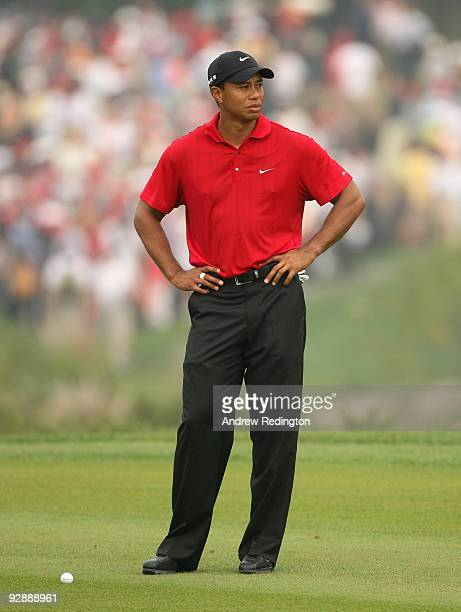 Tiger Woods of the USA in action on the second hole during the final round of the WGCHSBC Champions at Sheshan International Golf Club on November 8...