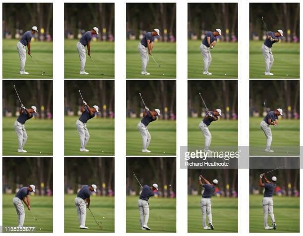 Tiger Woods of the USA iron swing sequence during a practice round for The PLAYERS Championship on The Stadium Course at TPC Sawgrass on March 12,...