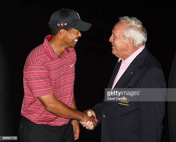 Tiger Woods of the USA is congratulated by Arnold Palmer of the USA after the final round of the Arnold Palmer Invitational Presented by Mastercard...