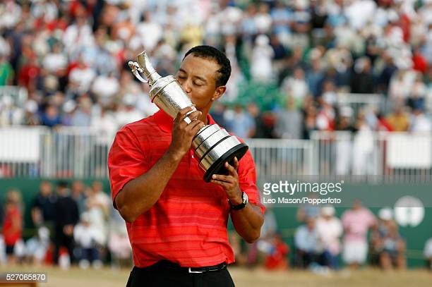 Tiger Woods of the USA kisses the Claret Jug after winning The Open at the Royal Liverpool Golf Club Hoylake Woods finished at 18 under par