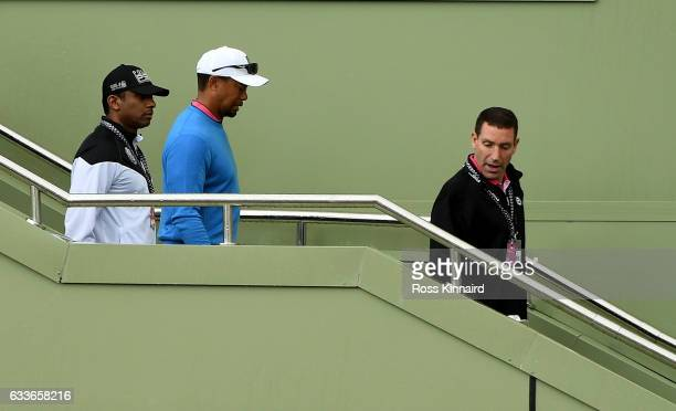Tiger Woods of the USA leaves the Emirates Golf after a short visit during the second round of the Omega Dubai Desert Classic at Emirates Golf Club...