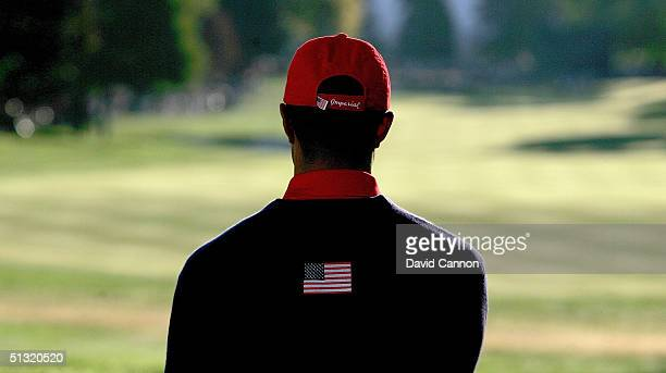 Tiger Woods of the USA looks down the first fairway before his four-ball match against European team players Darren Clarke and Ian Poulter in the...