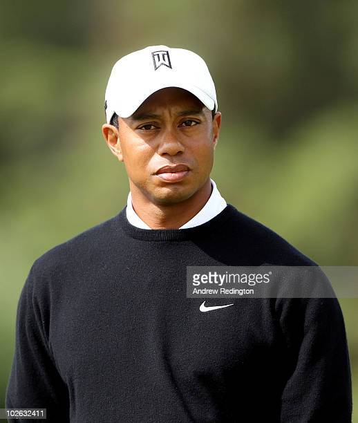 Tiger Woods of the USA looks on during play on the 11th hole during the first round of The JP McManus Invitational ProAm event at the Adare Manor...