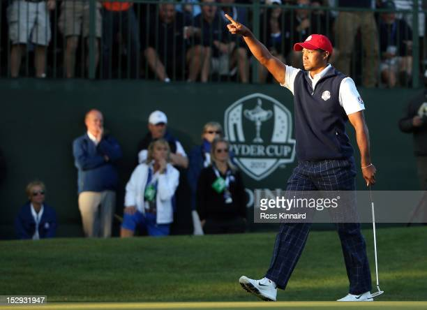 Tiger Woods of the USA makes birdie on the 16th hole during the Afternoon FourBall Matches for The 39th Ryder Cup at Medinah Country Club on...
