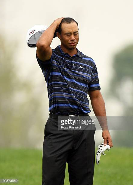 Tiger Woods of the USA makes his way onto the 15th green during the third round of the WGC HSBC Champions at Sheshan International Golf Club on...
