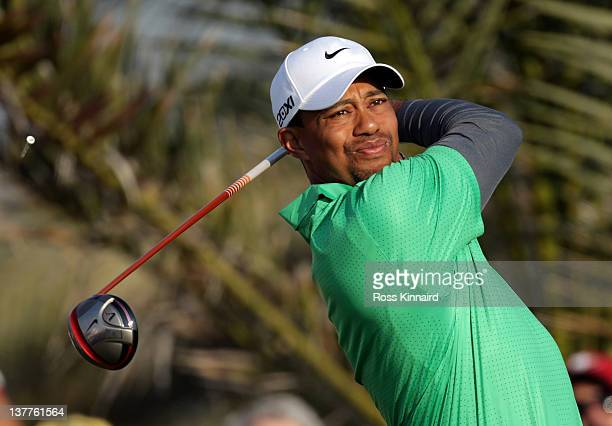 Tiger Woods of the USA on the 13th tee during the first round of Abu Dhabi HSBC Golf Championship at the Abu Dhabi HSBC Golf Championship on January...