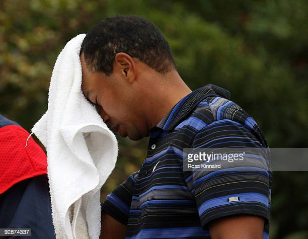Tiger Woods of the USA on the 18th tee during the third round of the WGC HSBC Champions at Sheshan International Golf Club on November 7 2009 in...