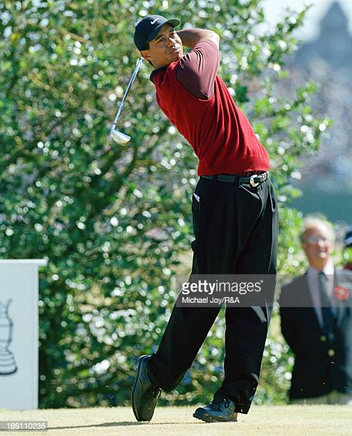 Tiger Woods of the USA on the 3rd tee during the final round of the 2000 Open Championship held on the Old Course at St Andrews on July 23, 2000 in...