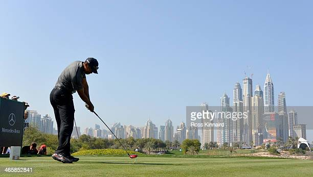 Tiger Woods of the USA on the 8th tee during the first round of the Omega Dubai Desert Classic on the Majlis course at the Emirates Golf Club on...