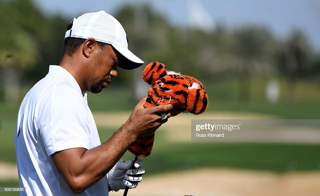 Tiger Woods of the USA on the driving range prior to the Omega Dubai Desert Classic at Emirates Golf Club on January 31, 2017 in Dubai, United Arab Emirates.