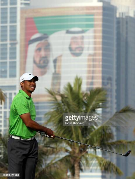 Tiger Woods of the USA on the par five 13th hole during the second round the Omega Dubai Desert Classic on the Majlis course at the Emirates Golf...