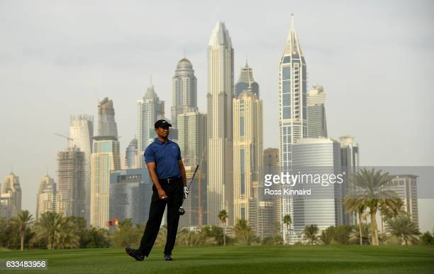 Tiger Woods of the USA on the par four 13th hole during the first round of the Omega Dubai Desert Classic at Emirates Golf Club on February 2 2017 in...