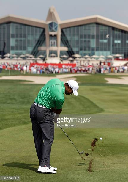 Tiger Woods of the USA on the par four 9th hole during the first round of Abu Dhabi HSBC Golf Championship at the Abu Dhabi HSBC Golf Championship on...