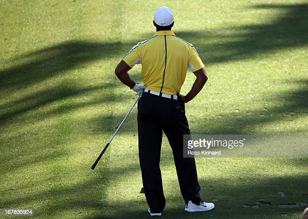 Tiger Woods of the USA on the par three 12th hole during the second round of the 2013 Masters at the Augusta National Golf Club on April 12, 2013 in...