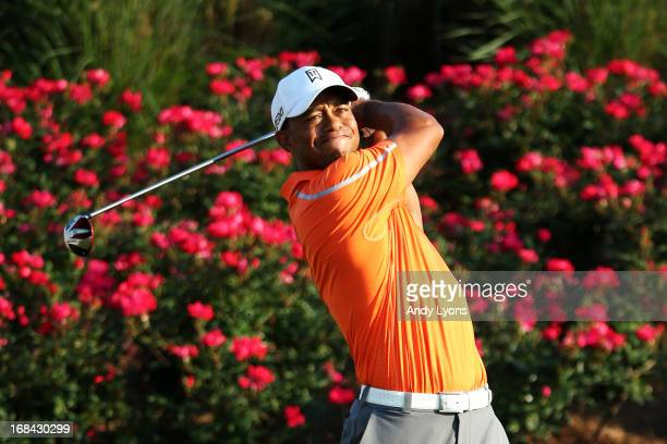 Tiger Woods of the USA plays a shot from the 18th tee during round one of THE PLAYERS Championship at THE PLAYERS Stadium course at TPC Sawgrass on...
