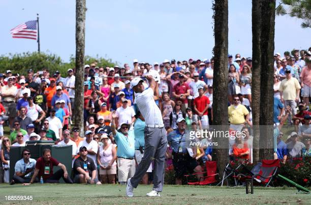 Tiger Woods of the USA plays a shot from the third tee during round three of THE PLAYERS Championship at THE PLAYERS Stadium course at TPC Sawgrass...