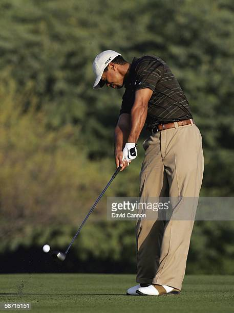 Tiger Woods of the USA plays his second to the 3rd during the ProAm for the 2006 Dubai Desert Classic on the Majilis Course at the Emirates Golf Club...