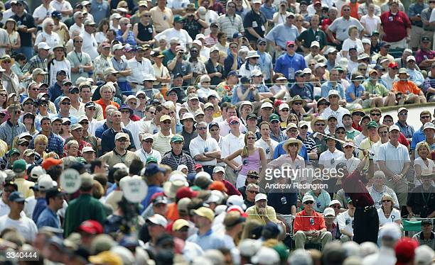 Tiger Woods of the USA plays his tee shot on the third hole during the final round of the Masters at the Augusta National Golf Club on April 11 2004...