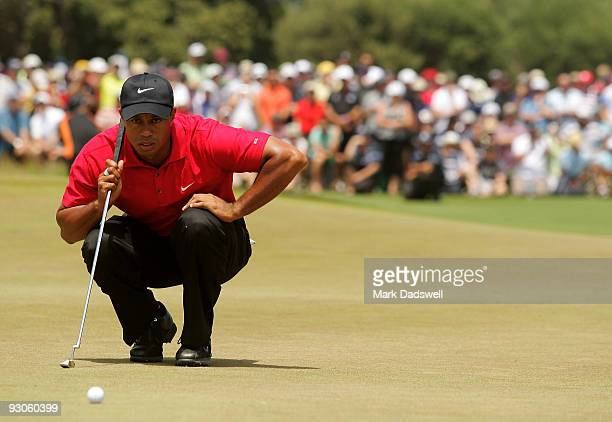Tiger Woods of the USA prepares to putt on the 3rd hole during the final round of the 2009 Australian Masters at Kingston Heath Golf Club on November...