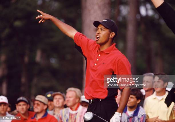 Tiger Woods of the USA reacts enroute to victory during the US Masters Golf Tournament at the Augusta National Golf Club in Georgia on 13th April 1997