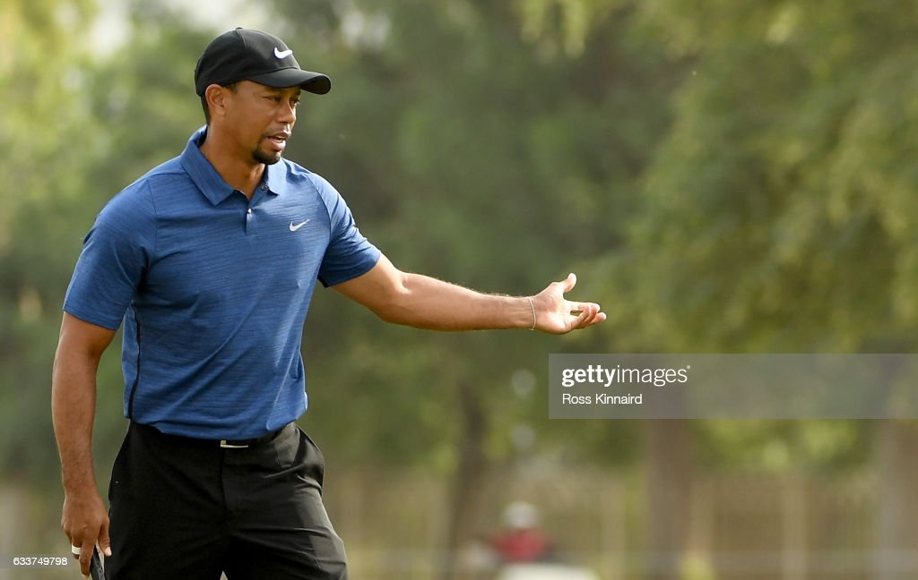Tiger Woods of the USA reacts to his putt on 15th hole during the first round of the Omega Dubai Desert Classic at Emirates Golf Club on February 2, 2017 in Dubai, United Arab Emirates.