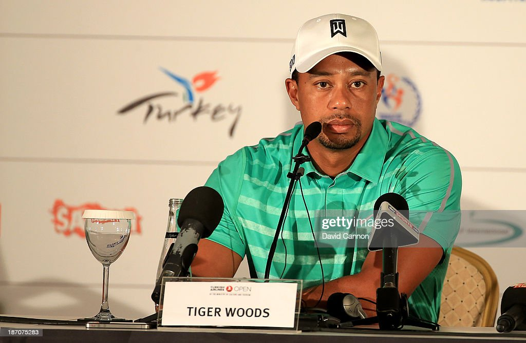 Tiger Woods of the USA speaking during his media conference as a preview for the 2013 Turkish Airlines Open on the Montgomerie Maxx Royal Course on November 6, 2013 in Antalya, Turkey.