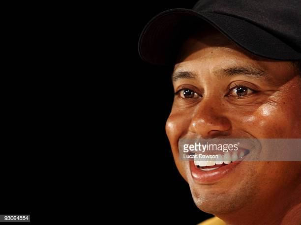 Tiger Woods of the USA speaks to the media at a press conference after the final round of the 2009 Australian Masters at Kingston Heath Golf Club on...