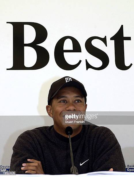 Tiger Woods of the USA speaks to the media during a press conference at The SAP Deutsche Bank Open on May 14 2003 at The Gut Kaden golf club in...