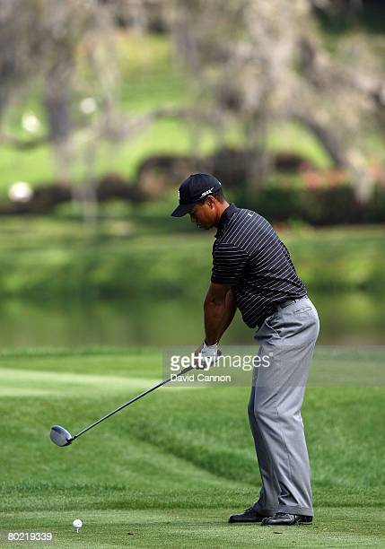 Tiger Woods of the USA starts his takeaway as he hits his tee shot to the 16th hole during the pro-am for the 2008 Arnold Palmer Invitational...